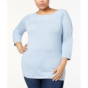 Karen Scott 2X Light Blue Boat Neck Sweater 11BR25